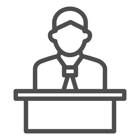Lecturer behind the podium line icon, business presentation concept, Speaker in uniform makes report sign on white background, spokesman behind stand icon in outline style. Vector graphics.