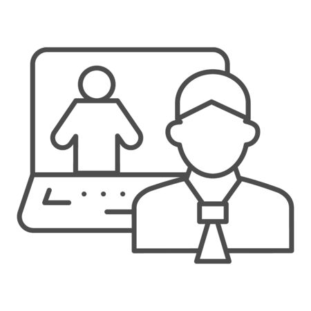 Man and laptop thin line icon, business conversation concept, online consultation vector sign on white background, video communication with specialist icon in outline style. Vector graphics.