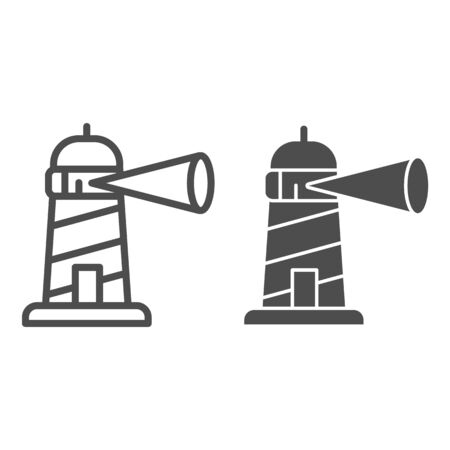 Beacon building line and solid icon, maritime navigation concept, spotlight in lighthouse sign on white background, Beacon tower icon outline style for mobile concept and web design. Vector graphics.