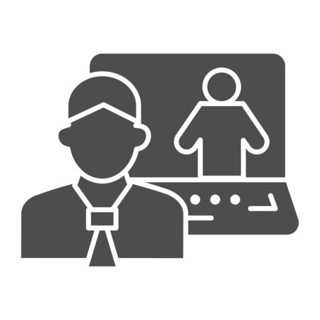 Man and laptop solid icon, business conversation concept, online consultation vector sign on white background, video communication with specialist icon in glyph style. Vector graphics.