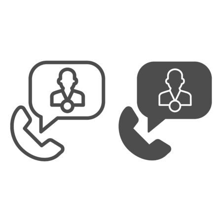 Phone with speech bubble and consultant line and solid icon, business consultation concept, telephone conversation with manager sign on white background, phone support icon outline. Vector graphics.
