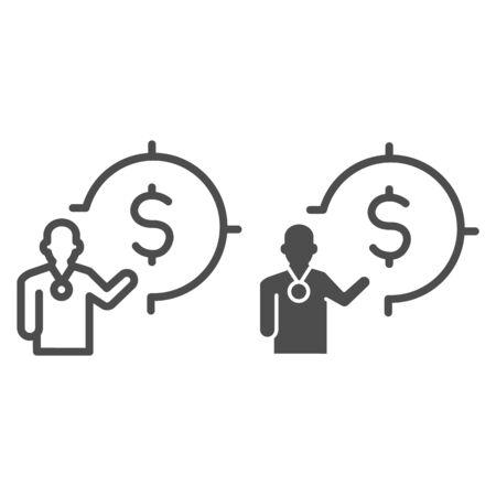 Lecturer and target with dollar line and solid icon, presentation concept, Leader presents financial goal sign on white background, Speaker with dollar symbol icon in outline. Vector graphics.