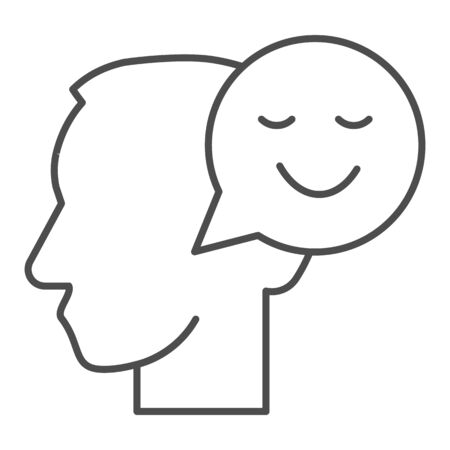 Person with positive thought thin line icon, communication concept, User with speech bubble sign on white background, Thinking head with happy smile sign in outline style. Vector graphics. Ilustracja
