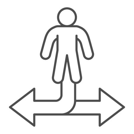 Man and arrow in two directions thin line icon, business strategy concept, decision making sign on white background, businessman choosing way icon outline style for mobile, web. Vector graphics.