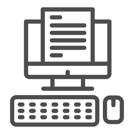 Computer monitor with document line icon, business concept, Office documentation on screen vector sign on white background, Workspace with computer, keyboard and mouse icon in outline style. Ilustracja