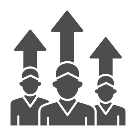 Three people and upward arrows solid icon, business concept, employee ambitions and motivation sign on white background, motivated team icon in glyph style mobile and web. Vector graphics.