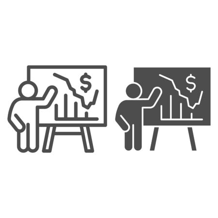 Person presents diagram on signboard line and solid icon, presentation concept, businessman with graphs and dollar symbol on white background, Teacher pointing at board with chart icon outline style.