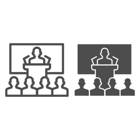 Lecturer in front of large auditorium line and solid icon, presentation concept, Speaker at conference sign on white background, Business person on training icon in outline style. Vector graphics.