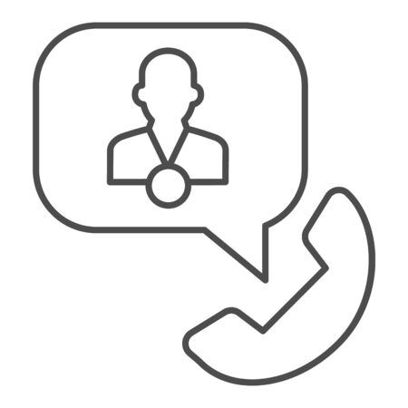 Phone with speech bubble and consultant thin line icon, business consultation concept, telephone conversation with manager sign on white background, phone support icon outline. Vector graphics.