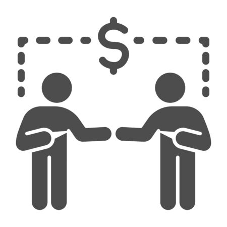 Two businessmen and dollar sign solid icon, communication concept, Business people handshake sign on white background, Successful partnership icon in glyph style for mobile and web. Vector.