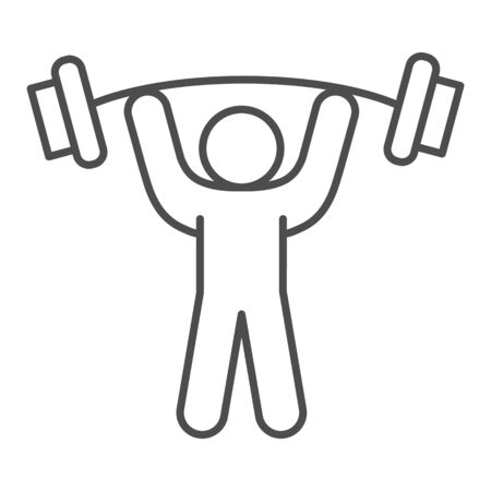 Man with barbell thin line icon, bodybuilding concept, Weightlifter sign on white background, Man lifting weight icon in outline style for mobile concept and web design. Vector graphics.