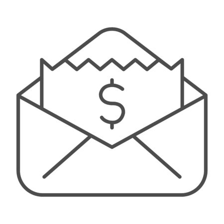 Envelope with dollar bill thin line icon, business concept, letter with financial payment sign on white background, Money bills in open envelope icon in outline style for mobile. Vector graphics.