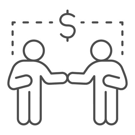 Two businessmen and dollar sign thin line icon, communication concept, Business people handshake sign on white background, Successful partnership icon in outline style for mobile and web. Vector. Ilustracja
