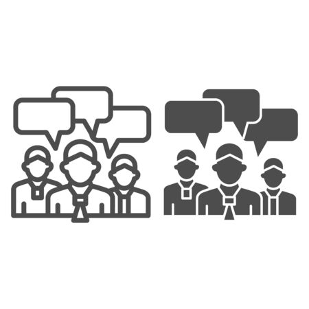 Business team with chat bubbles line and solid icon, business ideas concept, office staff meeting with dialog sign on white background, human brainstorming icon in outline for mobile. Vector graphics.
