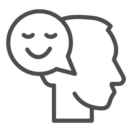 Person with positive thought line icon, communication concept, User with speech bubble sign on white background, Thinking head with happy smile sign in outline style. Vector graphics.