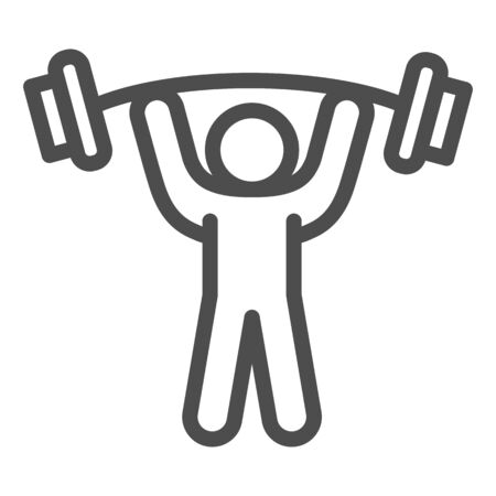 Man with barbell line icon, bodybuilding concept, Weightlifter sign on white background, Man lifting weight icon in outline style for mobile concept and web design. Vector graphics.