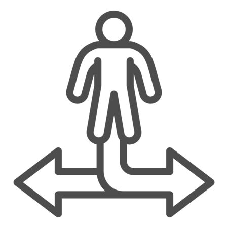 Man and arrow in two directions line icon, business strategy concept, decision making sign on white background, businessman choosing way icon outline style for mobile, web. Vector graphics.