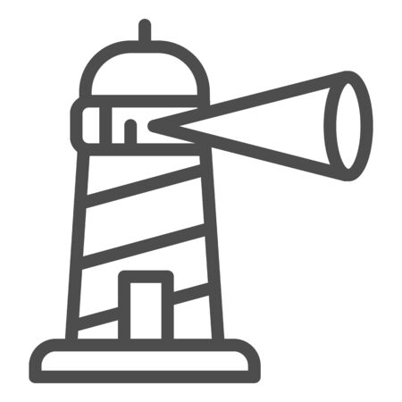Beacon building line icon, maritime navigation concept, spotlight in lighthouse sign on white background, Beacon tower icon outline style for mobile concept and web design. Vector graphics.