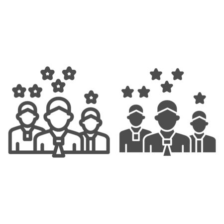 Team with rating stars line and solid icon, business concept, staff with different work experience vector sign on white background, team skills and rating icon in outline style. Vector graphics. Ilustracja