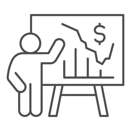 Person presents diagram on signboard thin line icon, presentation concept, businessman with graphs and dollar symbol on white background, Teacher pointing at board with chart icon outline style.