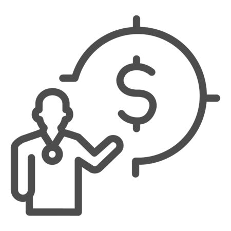Lecturer and target with dollar line icon, presentation concept, Leader presents financial goal sign on white background, Speaker with dollar symbol icon in outline. Vector graphics.