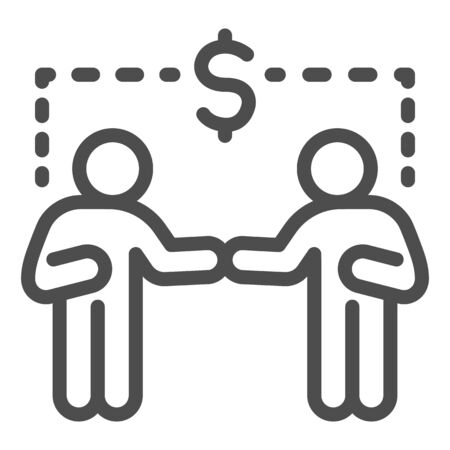 Two businessmen and dollar sign line icon, communication concept, Business people handshake sign on white background, Successful partnership icon in outline style for mobile and web. Vector. Ilustracja