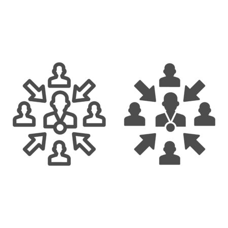 Group of people with leader and arrows line and solid icon, teamwork and relationship concept, working group with lead manager sign on white background, leader in organization icon in outline. Vector.