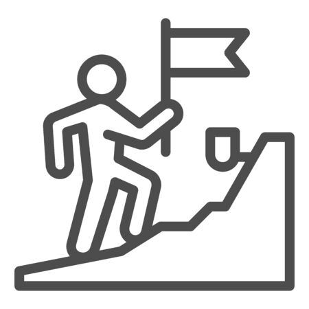 Man with flag climbing on top of mountain line icon, business concept, get on peak of career vector sign on white background, Stairs and leader with flag icon in outline style. Vector.
