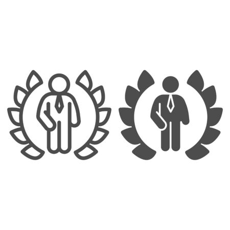 Wreath and businessman line and solid icon, business concept, winner of competition sign on white background, Best award laurel wreath and man icon in outline style for mobile, web. Vector graphics.