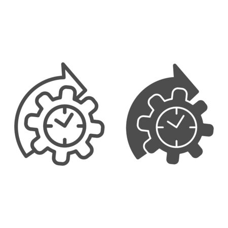 Watches and arrow with gear line and solid icon, time managment concept, cogwheel with clock reprocessing sign on white background, Accelerated process gear icon in outline style. Vector graphics. Ilustracja
