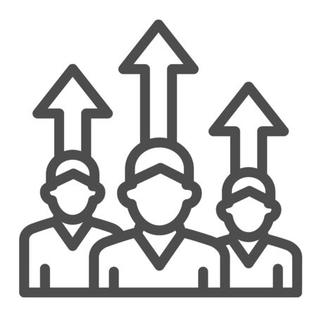 Three people and upward arrows line icon, business concept, employee ambitions and motivation sign on white background, motivated team icon in outline style mobile and web. Vector graphics.