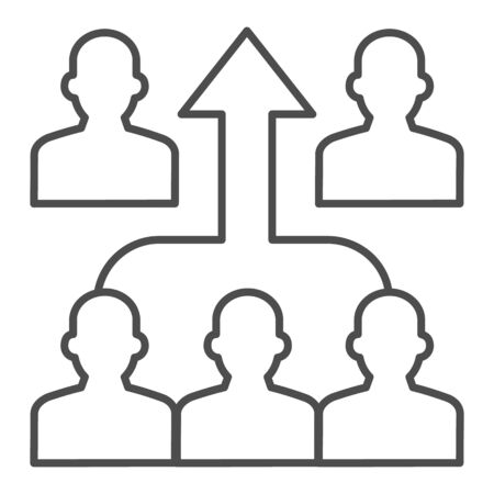 Human group and upward arrow thin line icon, business concurrency concept, strong team mates sign on white background, people competition icon in outline style for mobile, web. Vector graphics.