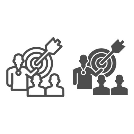 Target with arrow and lecturer line and solid icon, presentation concept, Leader presents business goal sign on white background, Speaker with achieving goal task icon in outline. Vector graphics.