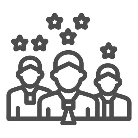 Team with rating stars line icon, business concept, staff with different work experience vector sign on white background, team skills and rating icon in outline style. Vector graphics. Ilustracja