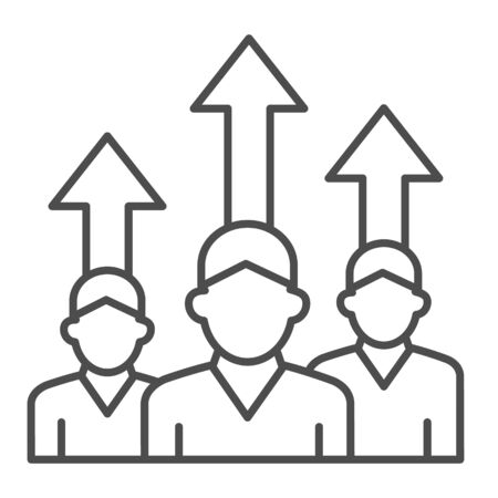 Three people and upward arrows thin line icon, business concept, employee ambitions and motivation sign on white background, motivated team icon in outline style mobile and web. Vector graphics.