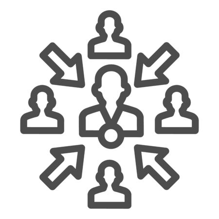 Group of people with leader and arrows line icon, teamwork and relationship concept, working group with lead manager sign on white background, leader in organization icon in outline. Vector.
