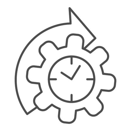 Watches and arrow with gear thin line icon, time managment concept, cogwheel with clock reprocessing sign on white background, Accelerated process gear icon in outline style. Vector graphics.