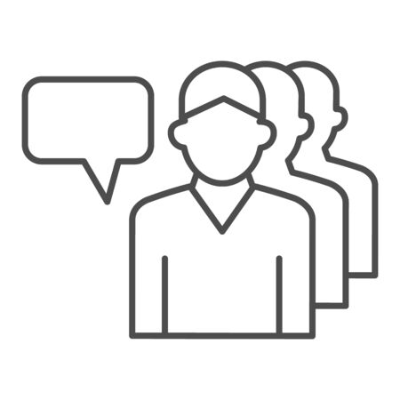 Human group and dialogue bubble thin line icon, communication concept, Business teamwork sign on white background, personal assistants team icon in outline style, mobile and web. Vector graphics.