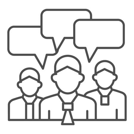 Business team with chat bubbles thin line icon, business ideas concept, office staff meeting with dialog sign on white background, human brainstorming icon in outline for mobile. Vector graphics.