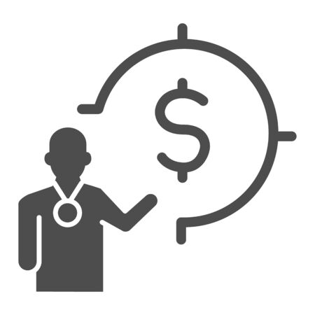 Lecturer and target with dollar solid icon, presentation concept, Leader presents financial goal sign on white background, Speaker with dollar symbol icon in glyph. Vector graphics.
