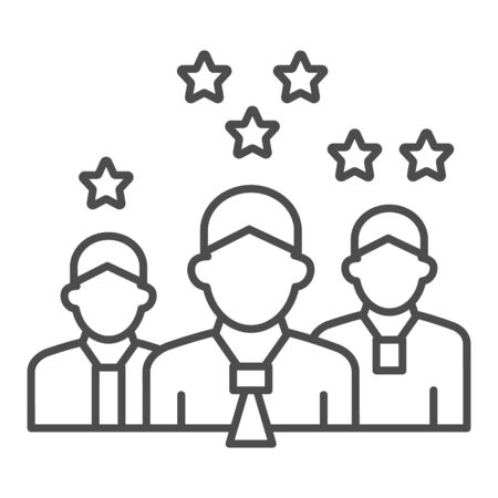 Team with rating stars thin line icon, business concept, staff with different work experience vector sign on white background, team skills and rating icon in outline style. Vector graphics.