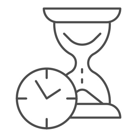 Hourglass with clock thin line icon, time passing concept, urgency and running out of time sign on white background, sandglass or sandclock with watch icon in outline style. Vector graphics.