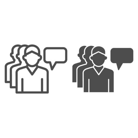 Human group and dialogue bubble line and solid icon, communication concept, Business teamwork sign on white background, personal assistants team icon in outline style, mobile and web. Vector graphics.
