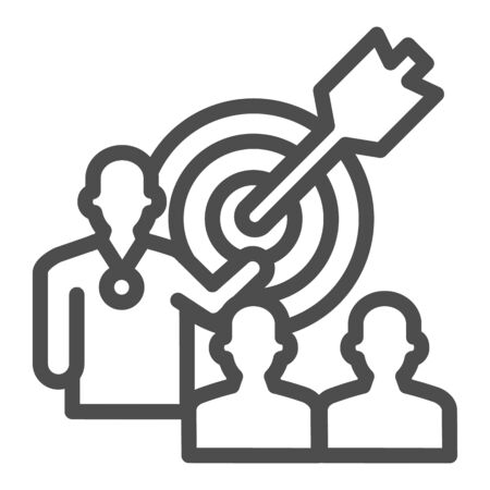 Target with arrow and lecturer line icon, presentation concept, Leader presents business goal sign on white background, Speaker with achieving goal task icon in outline. Vector graphics.