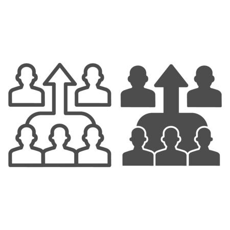 Human group and upward arrow line and solid icon, business concurrency concept, strong team mates sign on white background, people competition icon in outline style for mobile, web. Vector graphics.