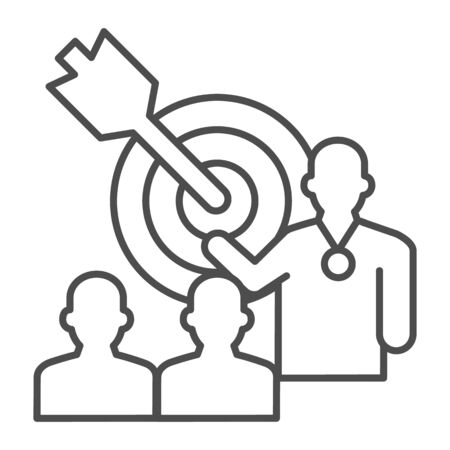 Target with arrow and lecturer thin line icon, presentation concept, Leader presents business goal sign on white background, Speaker with achieving goal task icon in outline. Vector graphics. Ilustracja