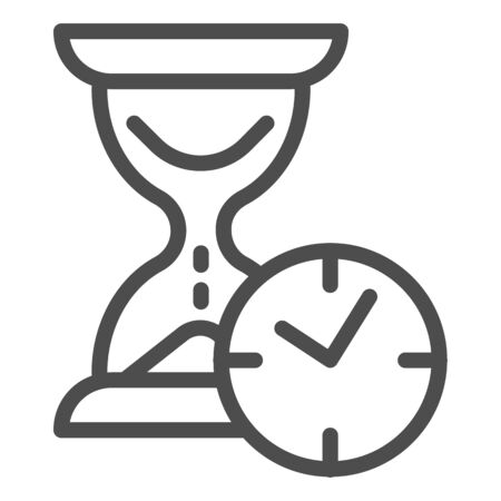 Hourglass with clock line icon, time passing concept, urgency and running out of time sign on white background, sandglass or sandclock with watch icon in outline style. Vector graphics.