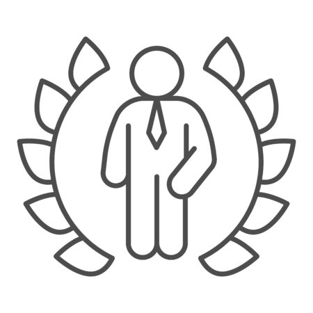 Wreath and businessman thin line icon, business concept, winner of competition sign on white background, Best award laurel wreath and man icon in outline style for mobile, web. Vector graphics. Ilustracja
