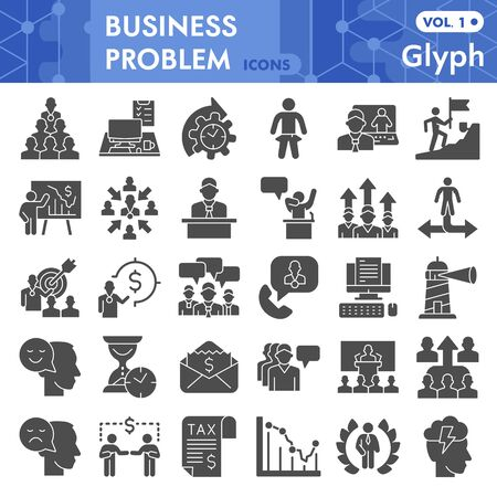 Business problem solid icon set, problem solving symbols set collection or vector sketches. Marketing signs set for computer web, glyph pictogram style package isolated on white background, eps 10.
