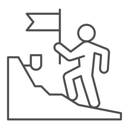 Man with flag climbing on top of mountain thin line icon, business concept, get on peak of career vector sign on white background, Stairs and leader with flag icon in outline style. Vector. Ilustracja
